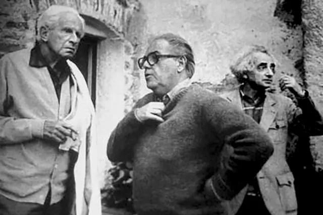 Herbert Marcuse, Max Frisch und Theo Pinkus in Salecina, 1976; Quelle: salecina.ch