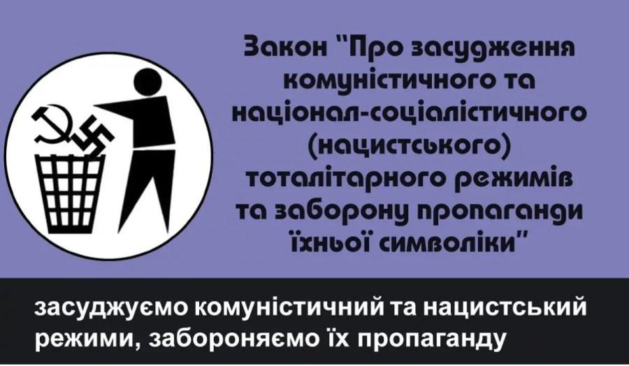 """Plakat des """"Instituts der nationalen Erinnerung"""" zum """"Gesetz über die Verurteilung der kommunistischen und nationalsozialistischen totalitären Regime in der Ukraine und das Verbot der Propaganda mit deren Symbolen"""", Quelle: memory.gov.ua"""