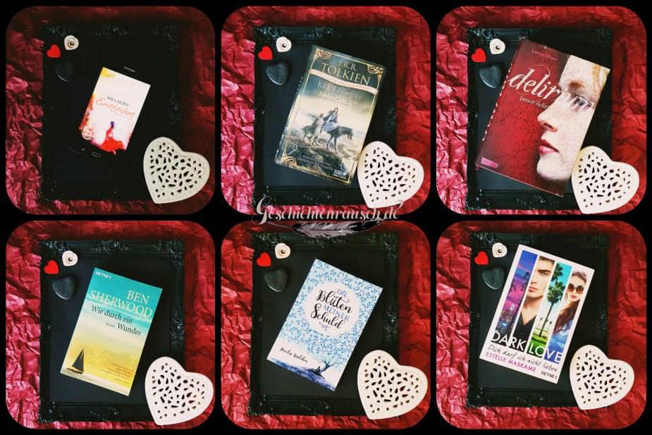 Collage aus Büchern über die Liebe