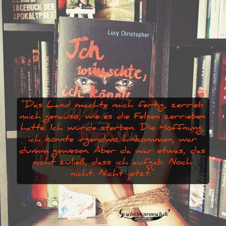 """Zitat aus """"Ich wünschte, ich könnte dich hassen"""" von Lucy Christopher"""