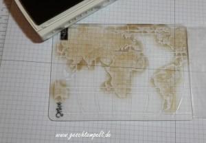 Stampin up, Prägefolder einfärben, Anleitung in Bildern, Tutorial, inking embossing folder, Liebe ohne Grenzen, Weltkarte, going global