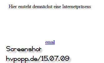 screenshot 'hvpopp.de' am 15.08.09 (Quelle:homepage)