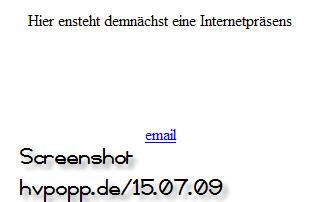 screenshot 'hvpopp.de' am 15.08.09 (Quelle:homepage)