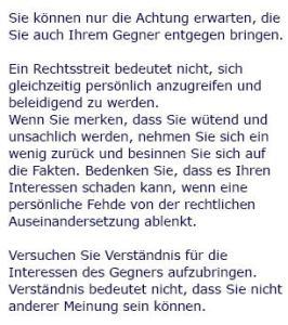 Gesichtspunkt Höflichkeit (Quelle: RAe Janke & Kloth)