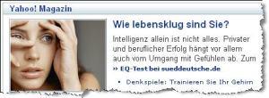 Webschnipsel EQ-Test (Quelle: yahoo.de)