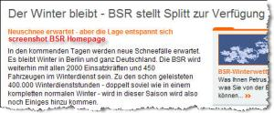 Screenshot BSR-Homepage (12.02.2010)