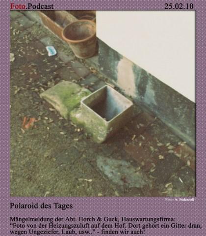 Polaroid des Tages: Heizungszuluft, Gitter