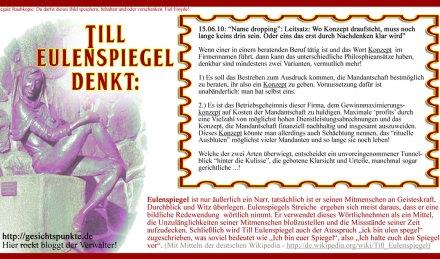 "Till Eulenspiegel denkt: Name dropping ""KONZEPT"""