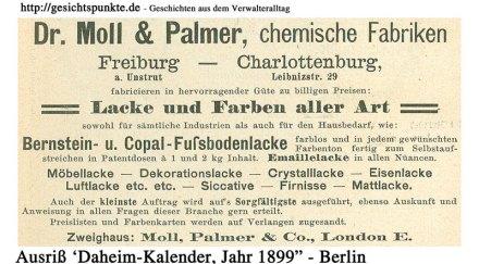 Lacke & Farben, Daheimkalender 1899 (Anzeige)