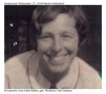 Edith Müller, gestorben 1943 in Auschwitz