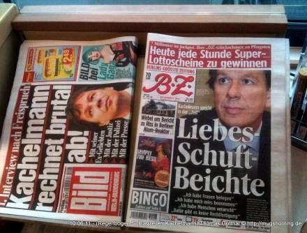 Zeitungsauslage an der Tankstelle: Das Thema Kachelmann vom Hörensagen