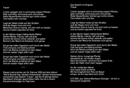 Trauer - Lyrics: Selma Meerbaum-Eisinger