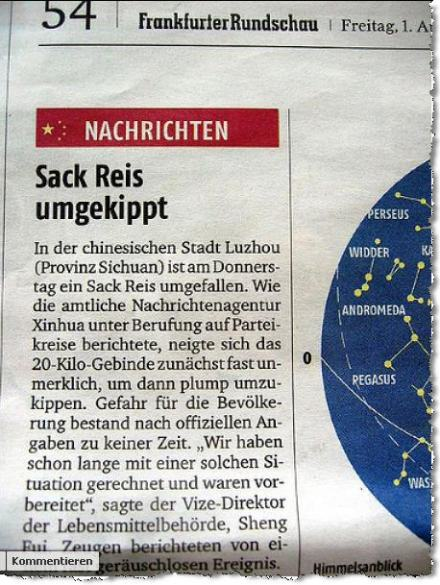 Ausriss: Breaking new: Sack Reis umgekippt