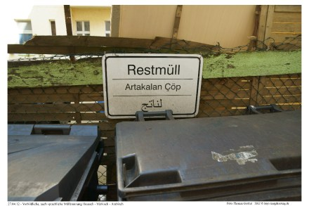 Restmüll auf deutsch - türkisch - arabisch: Artakalan Cöp u.a.