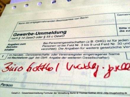 GewA 2 - Gewerbeanmeldung Formular der Verwaltung Berlin