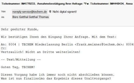 Ticketsystem bei TECHEM