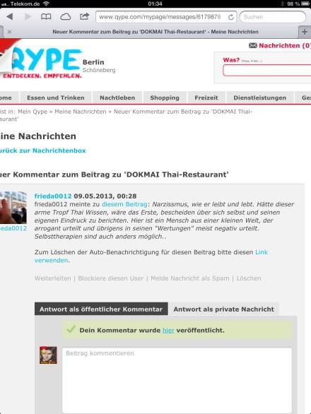 Trollartiger Kommentar auf qype #Cyber Mobbing
