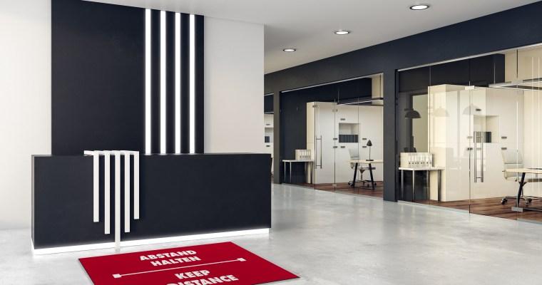 THE SAFEZONE – Physische Distanz durch ästhetisches Design. Abstandsteppiche als signalstarke Bodenlösung für Office, Hotel und den Handel.
