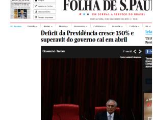 Déficit da Previdência cresce 150% e superavit do governo cai e abril - Folha de S. Paulo