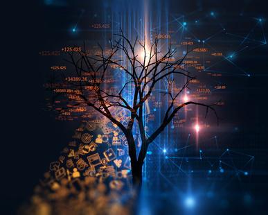 digital tree on technology background illustration