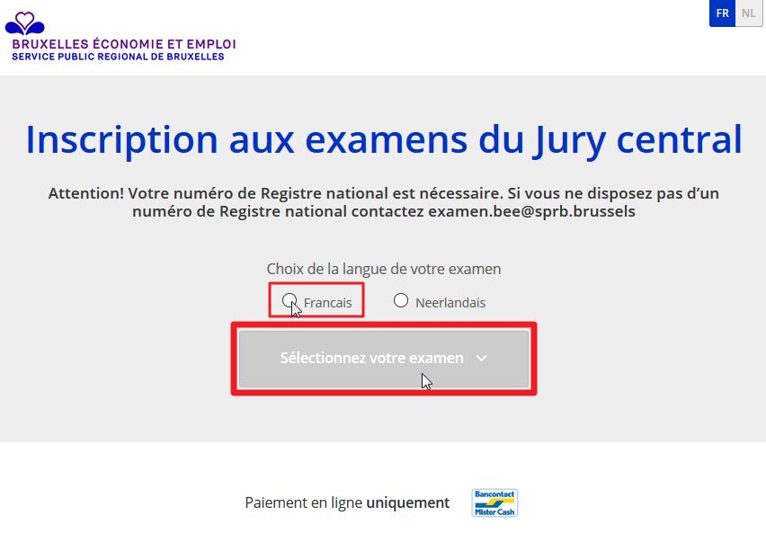 S'inscrire à l'examen du jury central - Etape 0