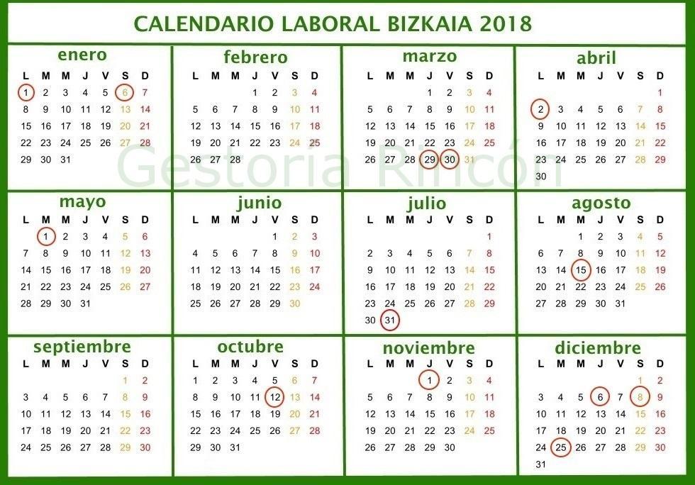 Calendario Laboral 2018 Vizcaya