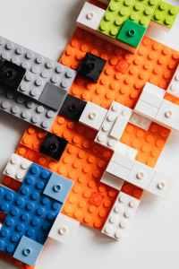 blue and orange lego blocks