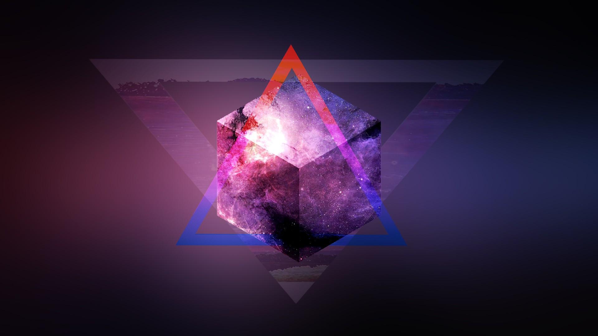 Wallpaper 3d Space Purple Sphere Triangle Blurred