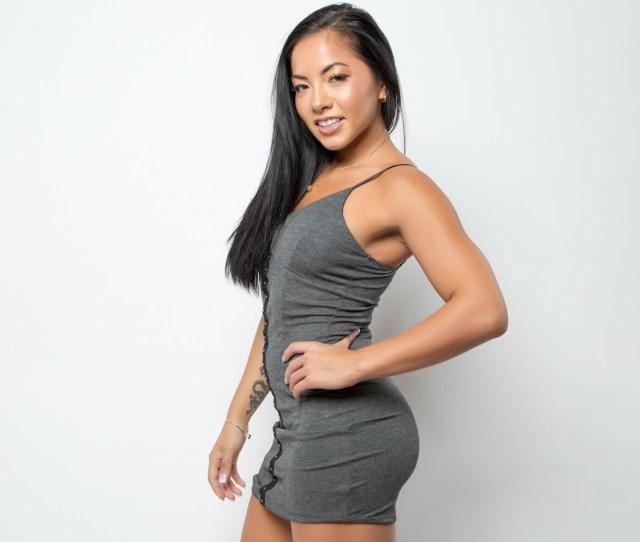Morgan Lee Asian Brunette Tattoo Grey Dress Women