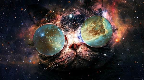 Wallpaper : cat, galaxy, planet, glasses, nebula ...