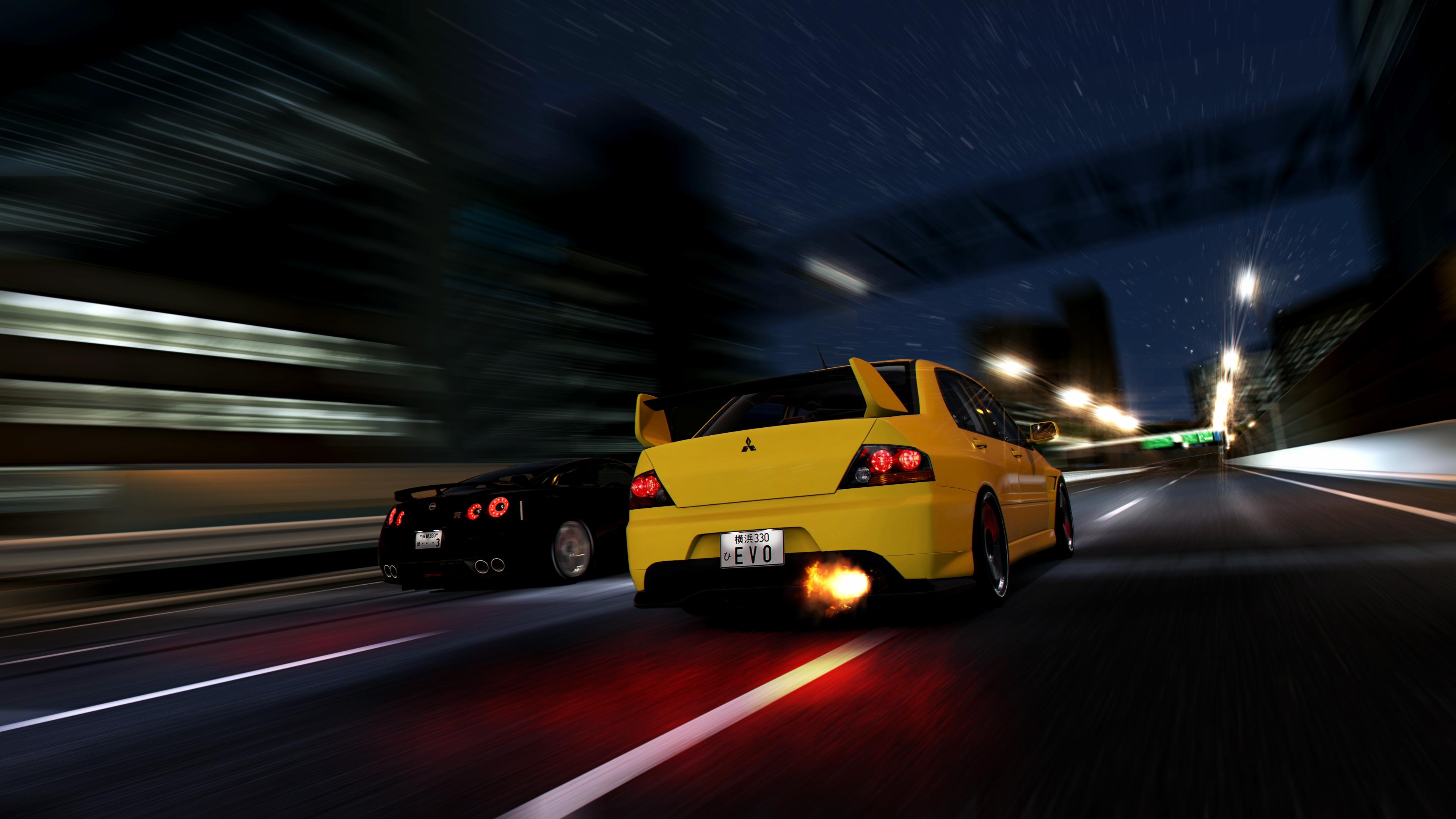 Wallpaper City Night Nissan Sports Car Mitsubishi