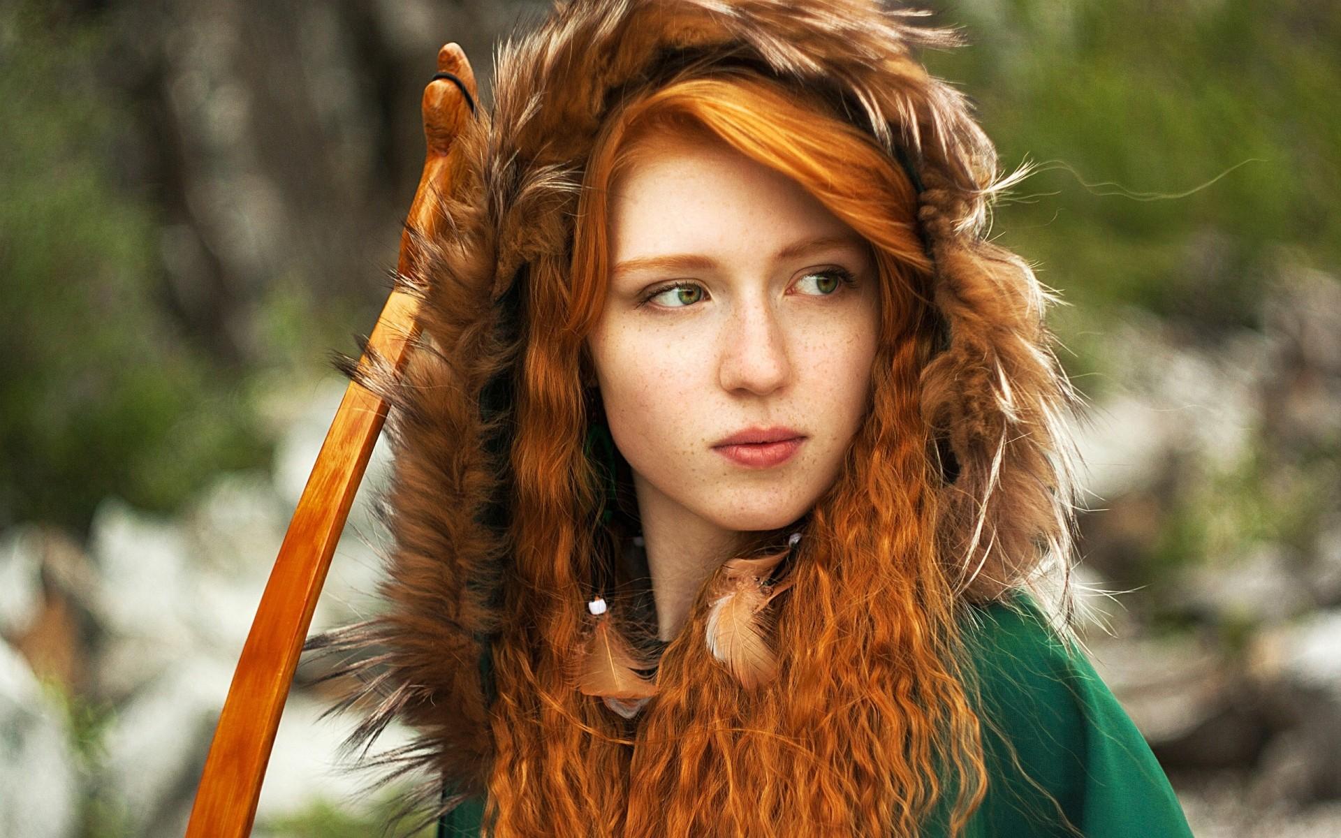 Wallpaper face women outdoors redhead model long hair green