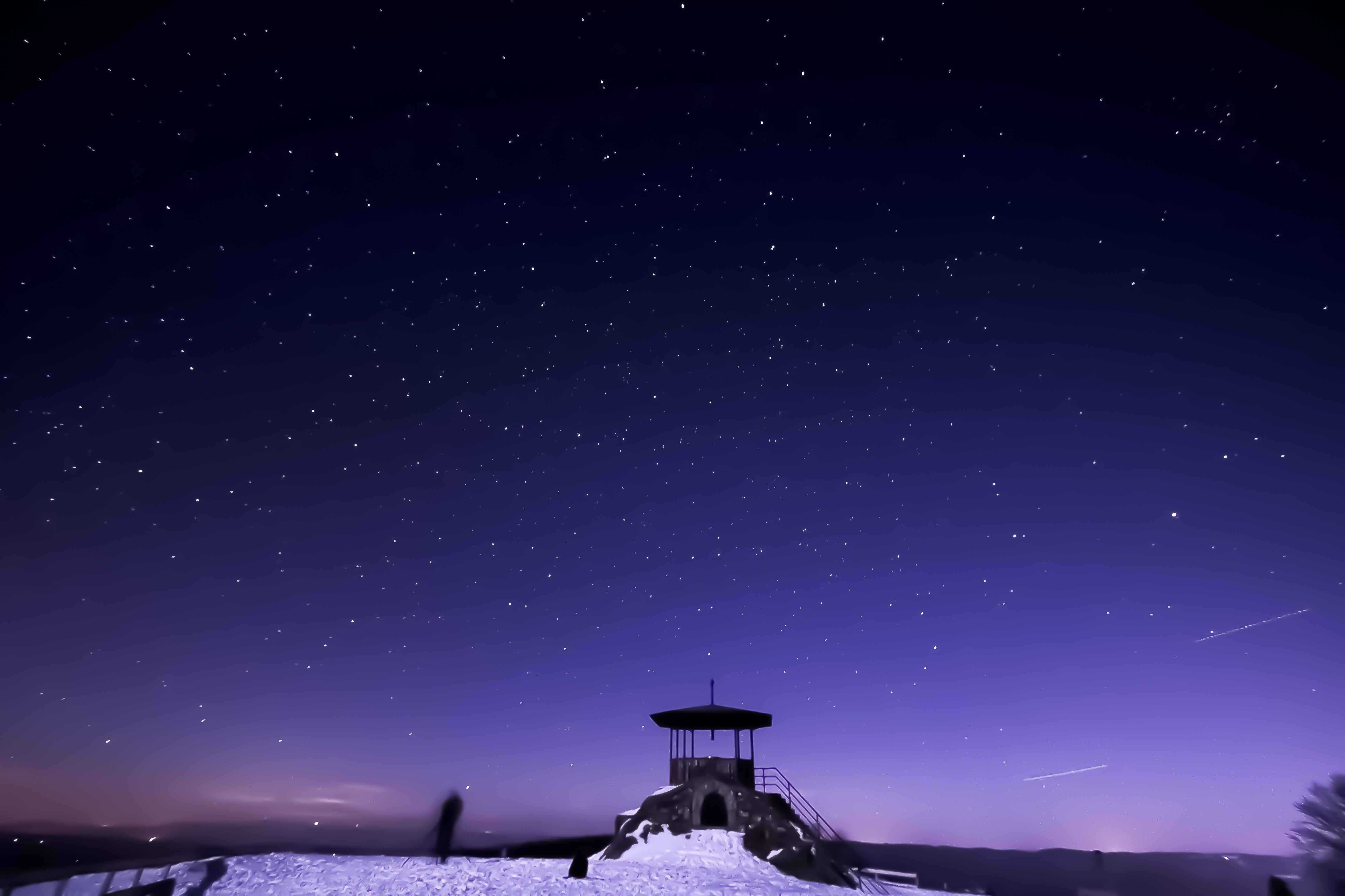 Wallpaper Snow Winter Moonlight Night Sky Starry