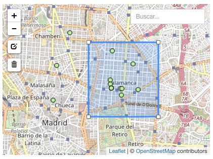 mapa de demanda de contacto con zona dibujada
