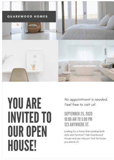 Cartel inmobiliario open house