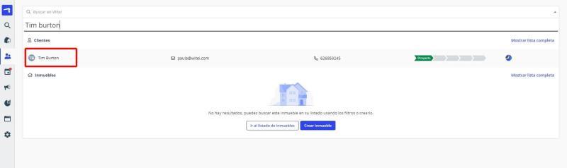 Como puedes buscar a un cliente en el CRM de Witei usando el buscador