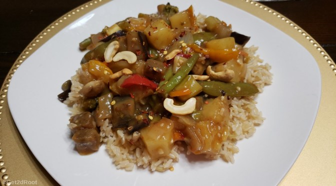 SPICY SWEET-N-SOUR EGGPLANT STIR-FRY