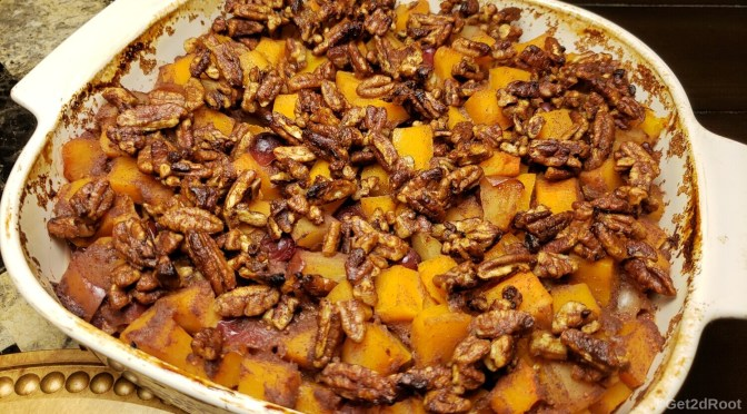 Holiday Baked Butternut Squash with Caramel date glazed pecans