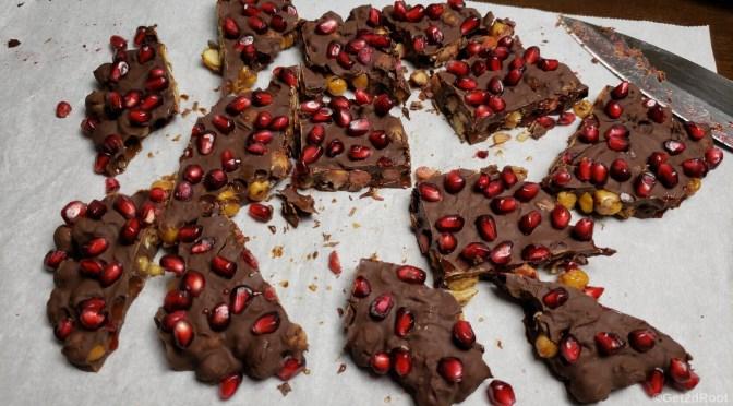 chocolate pomegranate chickpea bark