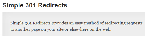 WP plugin Simple 301 Redirects