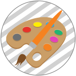 Paint brush and easel illustration