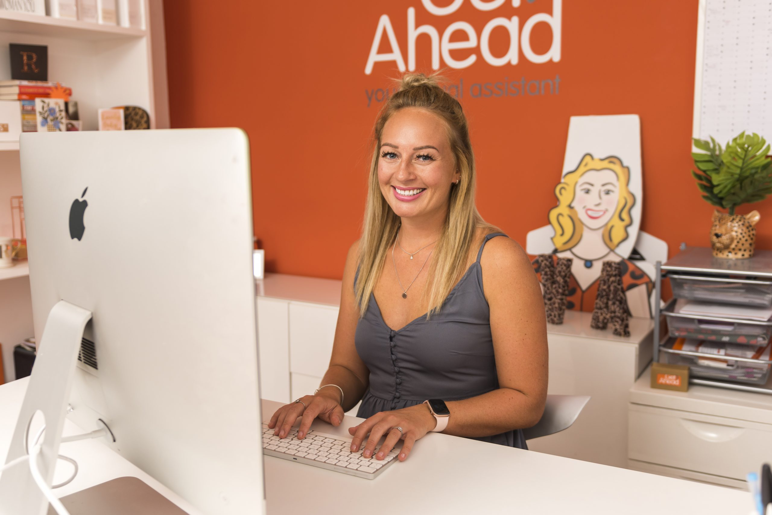 Sophie Birley Brown sitting at Get Ahead desk