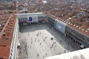 Looking down into the square from the bell tower