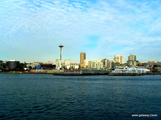 Port of Seattle as seen from deck of cruise ship