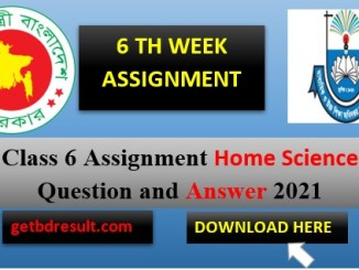 Class 6 Home Science Assignment Answer| 6 th week 2021
