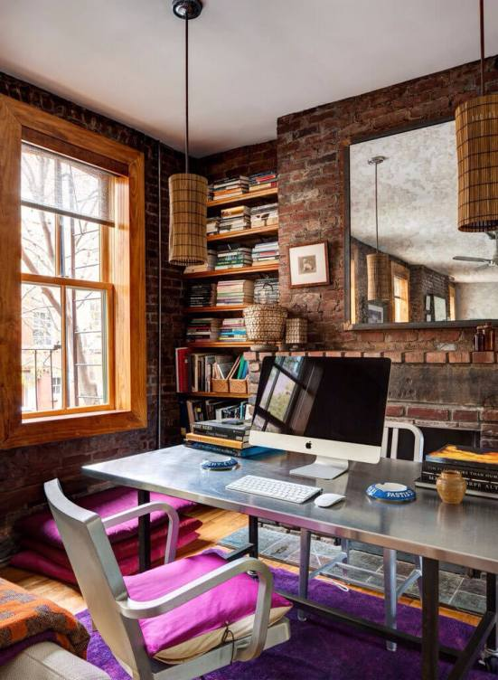 Colorful contemporary home office design #homeofficedesign #homeofficeideas #officedesignideas
