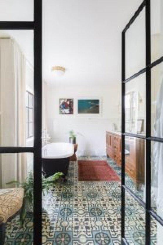 Tile Floor Bathroom Ideas White Patterned Bathroom Floor Tile Small