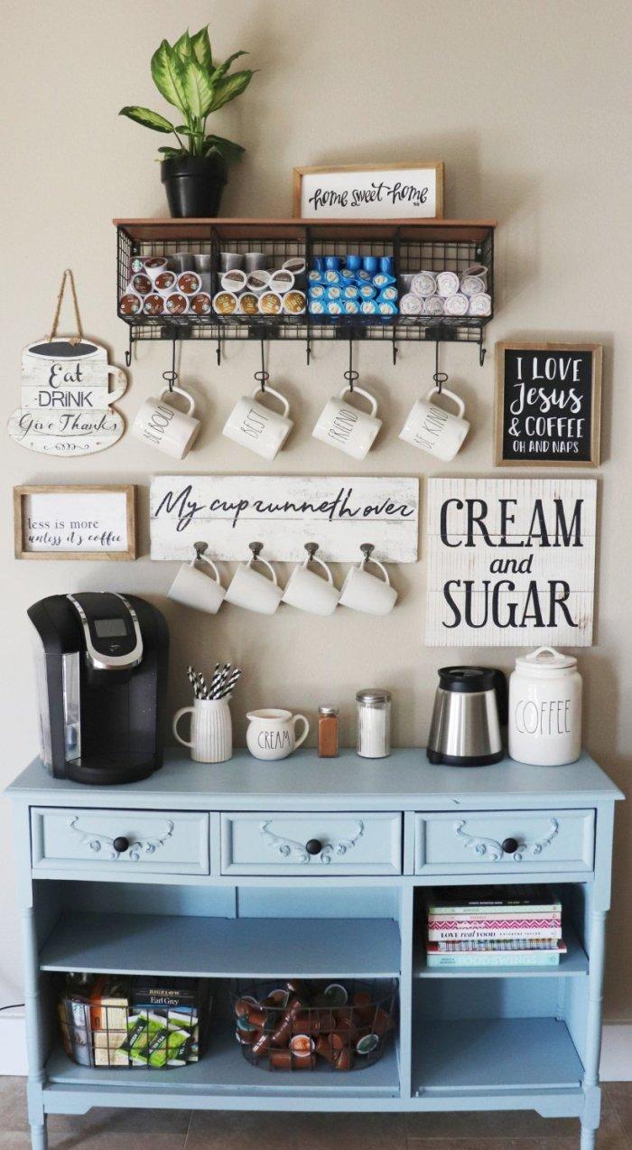Staggering coffee bar decor #coffeestationideas #homecoffeestation #coffeebar