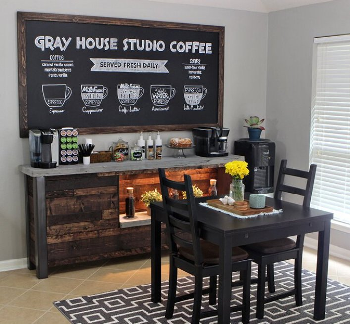Terrific coffee bar ideas for home #coffeestationideas #homecoffeestation #coffeebar
