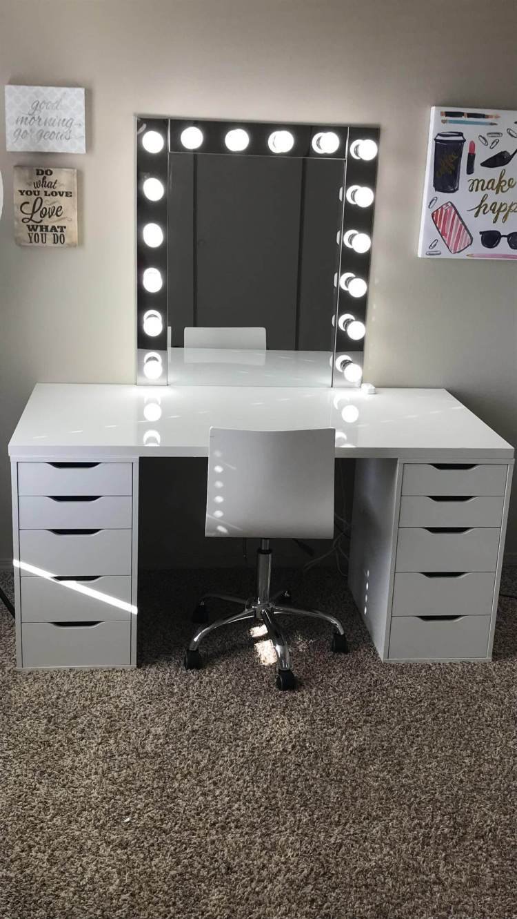 Unbelievable makeup vanity set with lights #makeuproomideas #makeupstorageideas #diymakeuporganizer